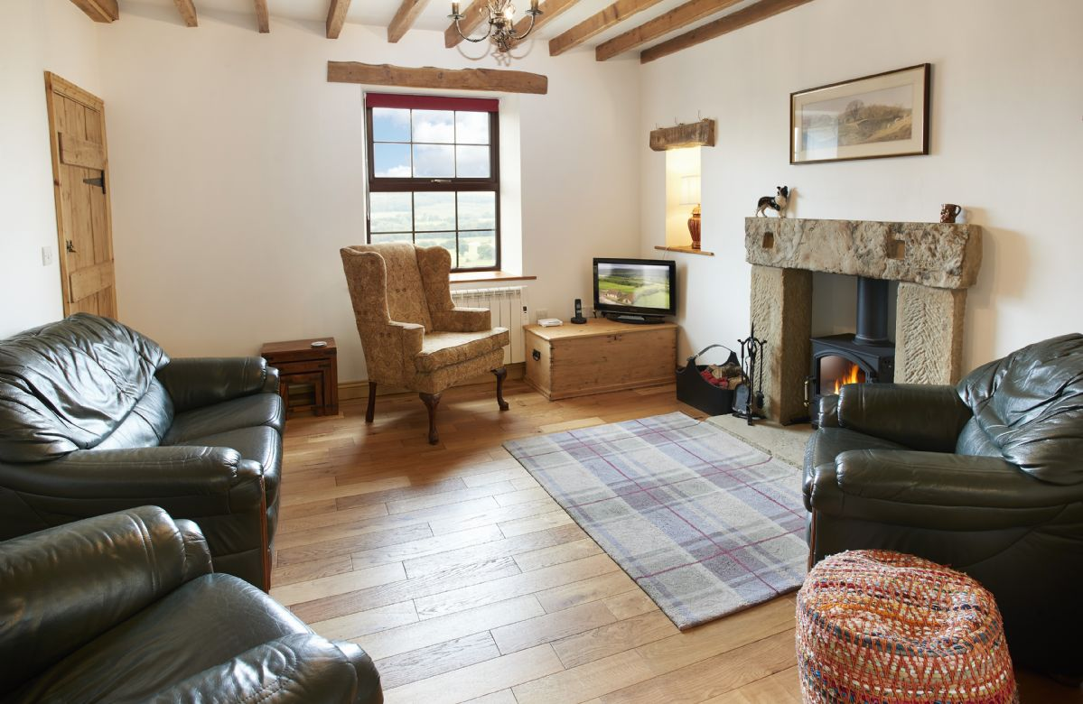 Ground floor:  Sitting room with stone fireplace and wood burning stove