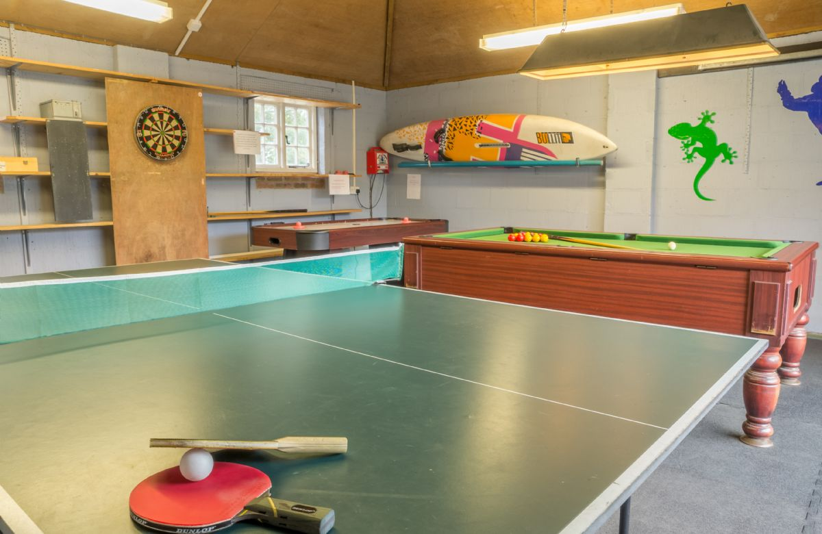 Bearwood House has a games room which contains a pool table, tennis table and darts board