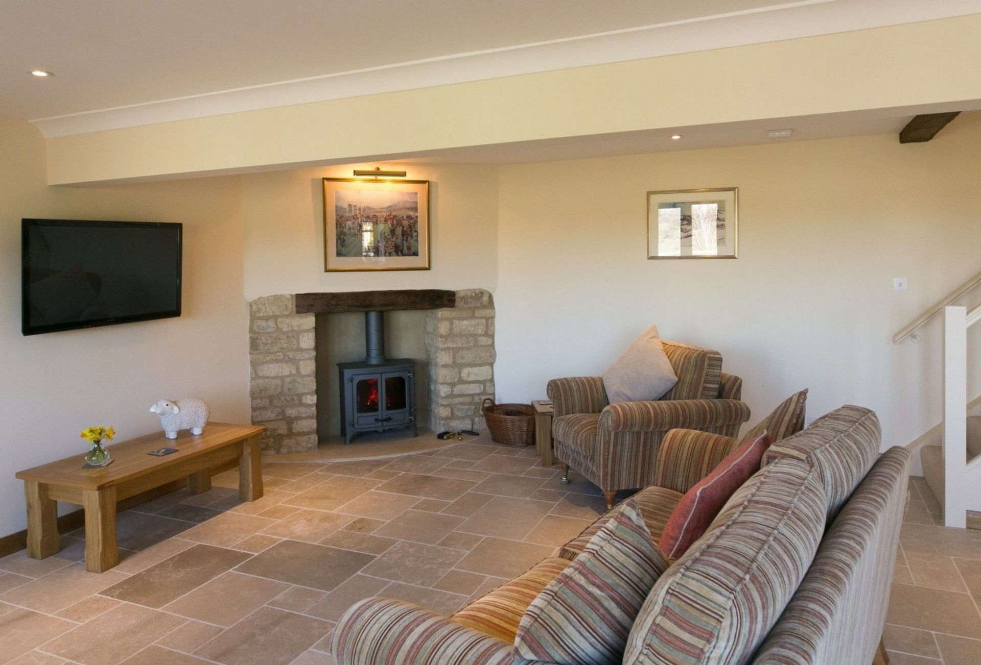 The Living area showing the fireplace