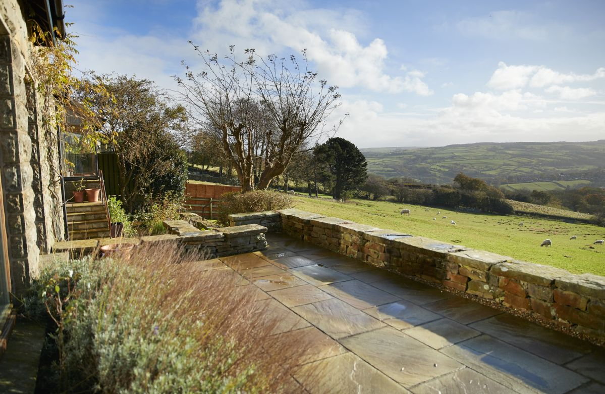 One of RedRoofs best features is the the South-facing paved terrace with views over the Esk Valley