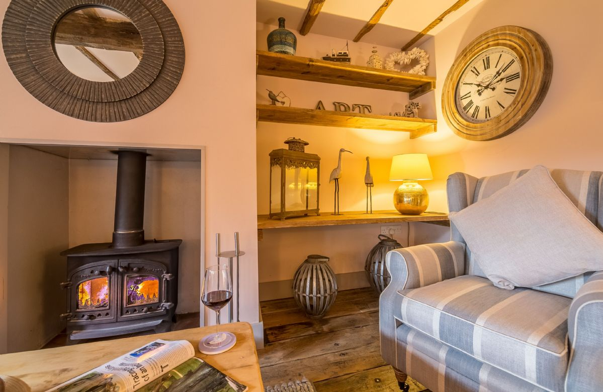 Ground floor: Sitting room with cosy wood burning stove