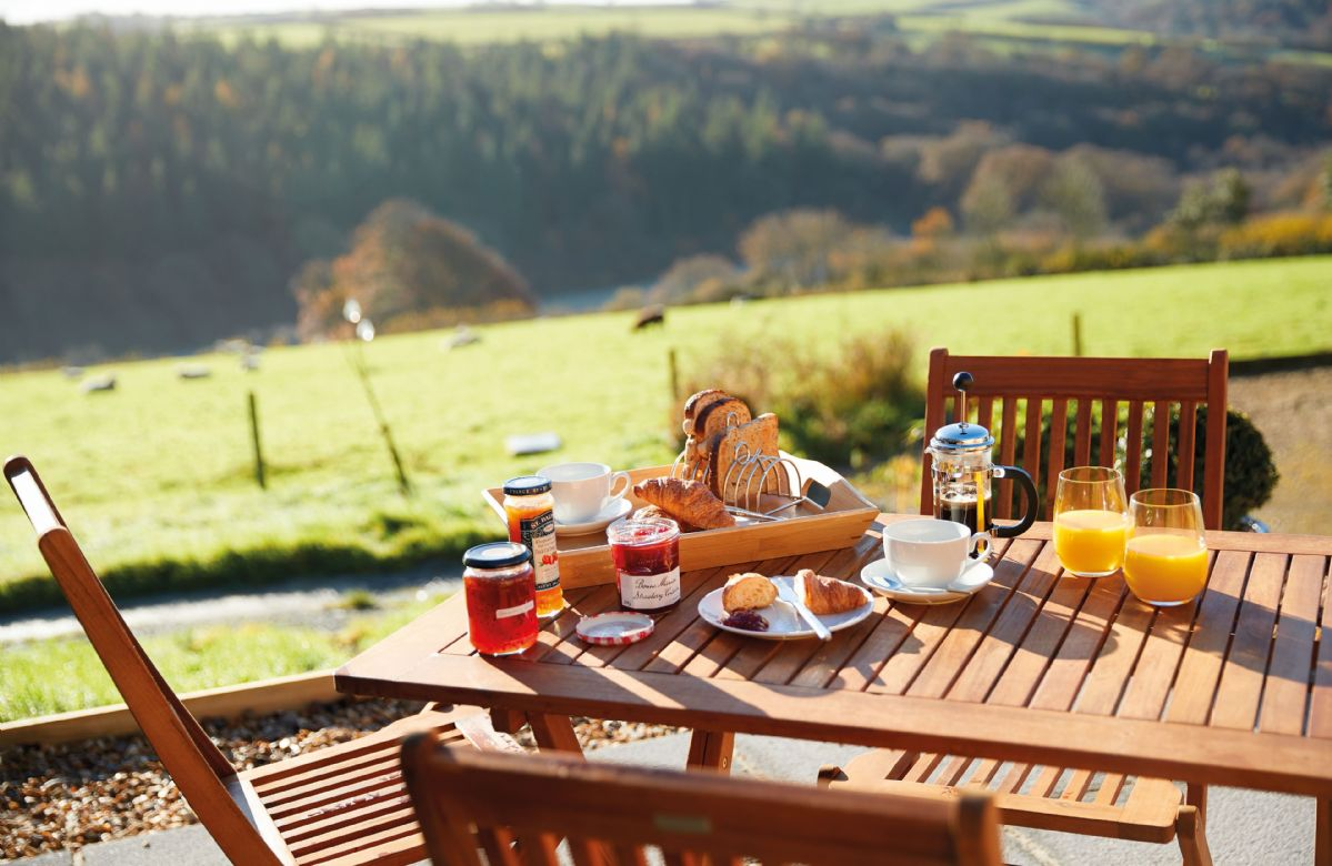 The private patio is the perfect place to enjoy breakfast