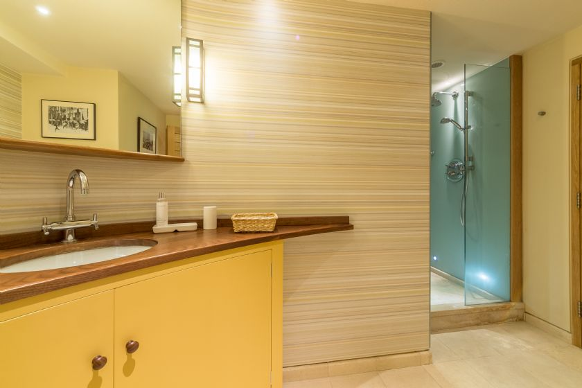 Shared bathroom with walk in shower