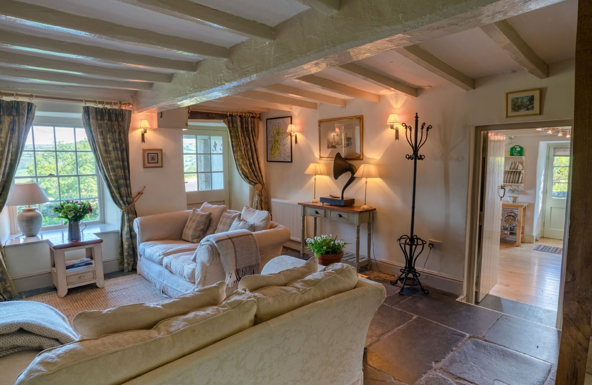 Ground floor:  The comfortable sitting room with wooden beams
