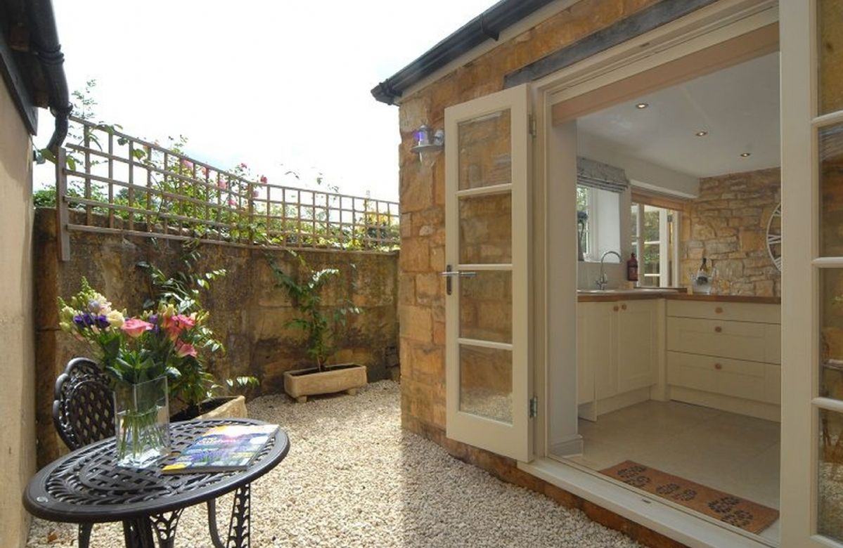 Outside: a sunny aspect of the terrace