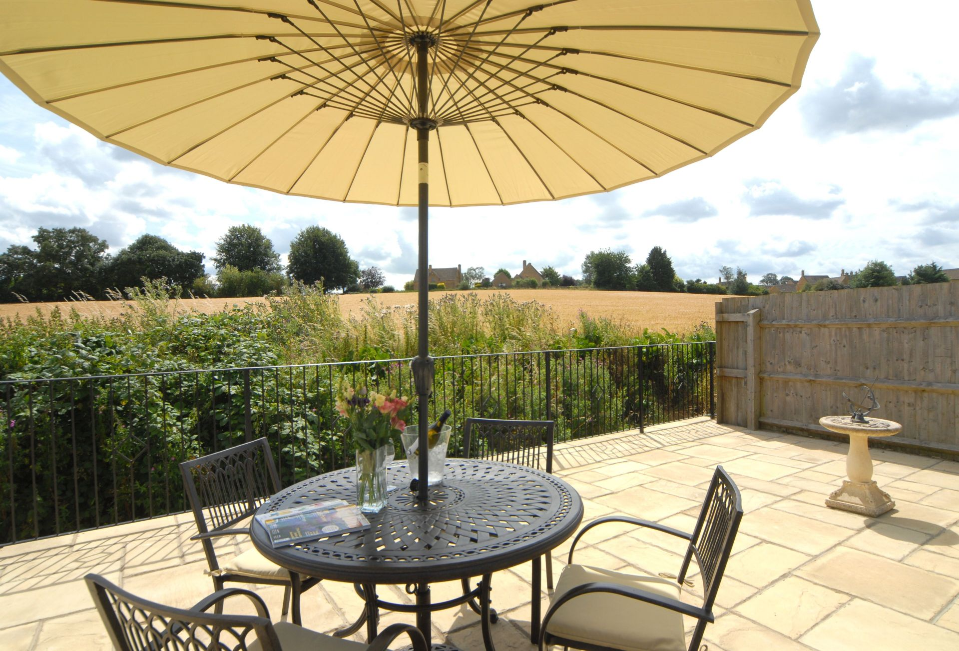 Fully enclosed garden with rural views