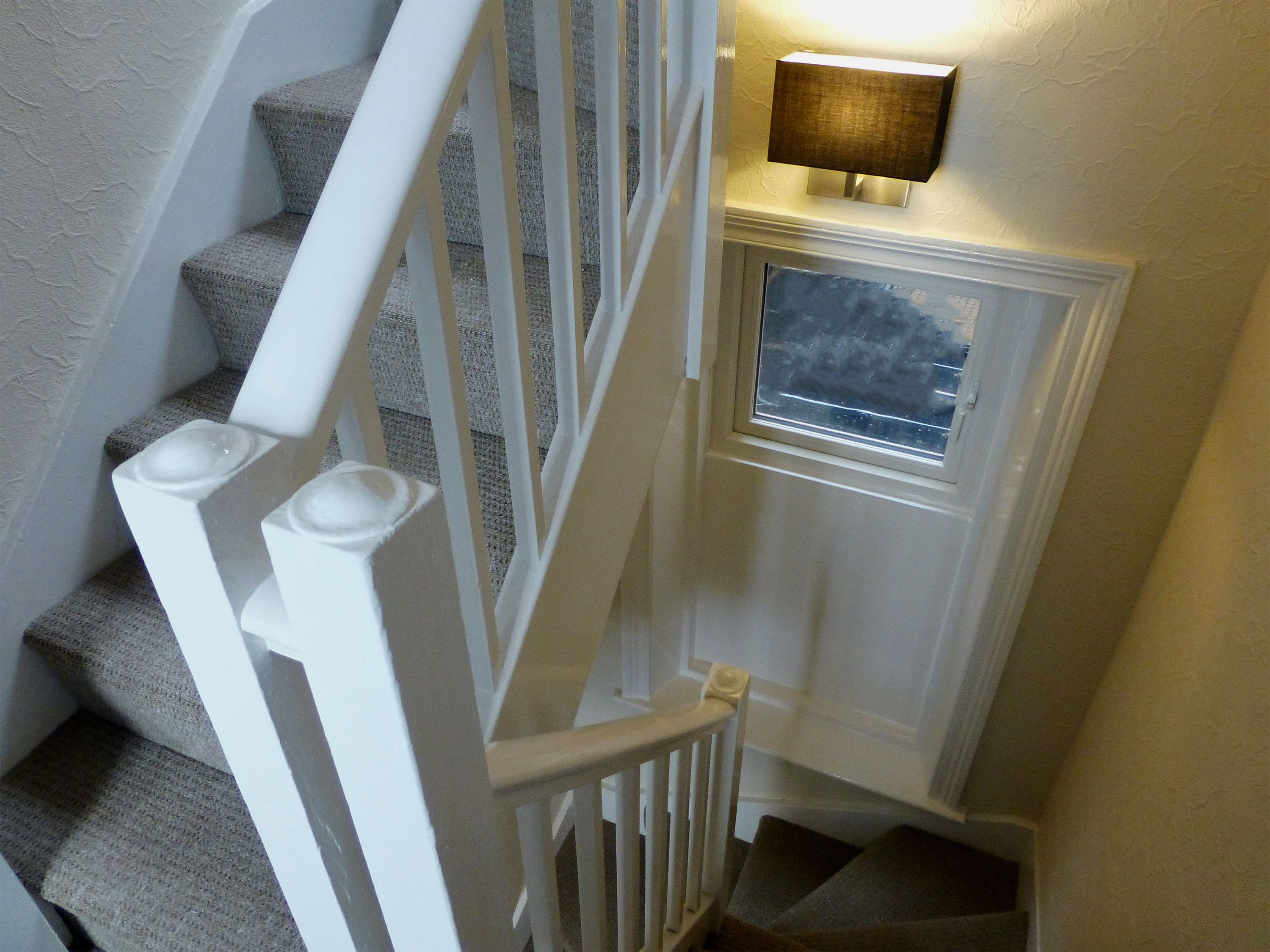 Fully Carpeted Stairs And Sturdy Handrails ...
