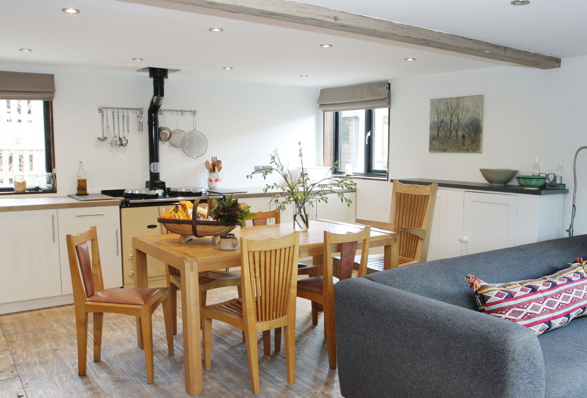 Ground floor: Open plan kitchen, living and dining area with Aga