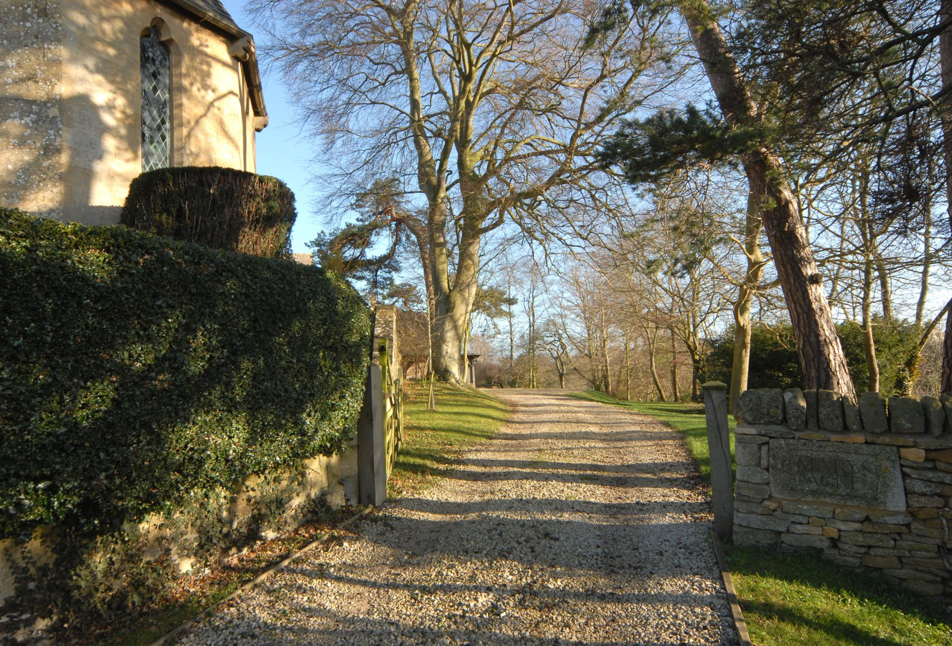 The driveway to the house