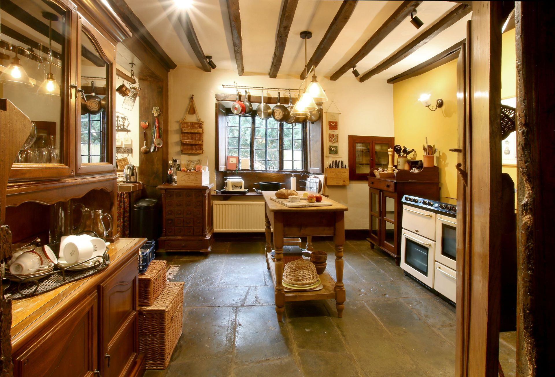A viGround floor:  Characterful, country kitchen with traditional pantry