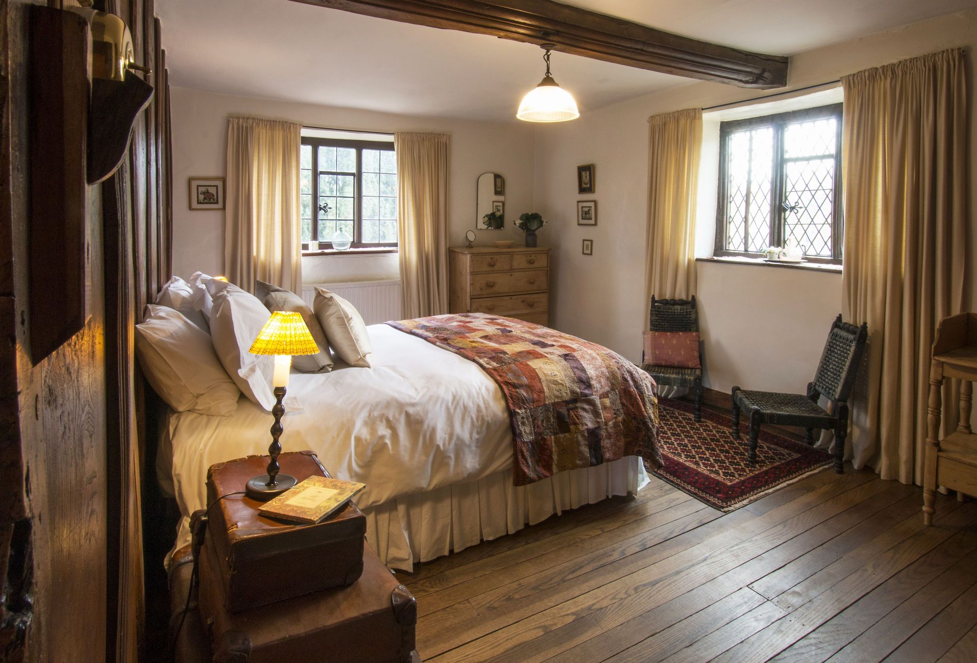 First floor:  Second bedroom with king-size bed and double aspect views