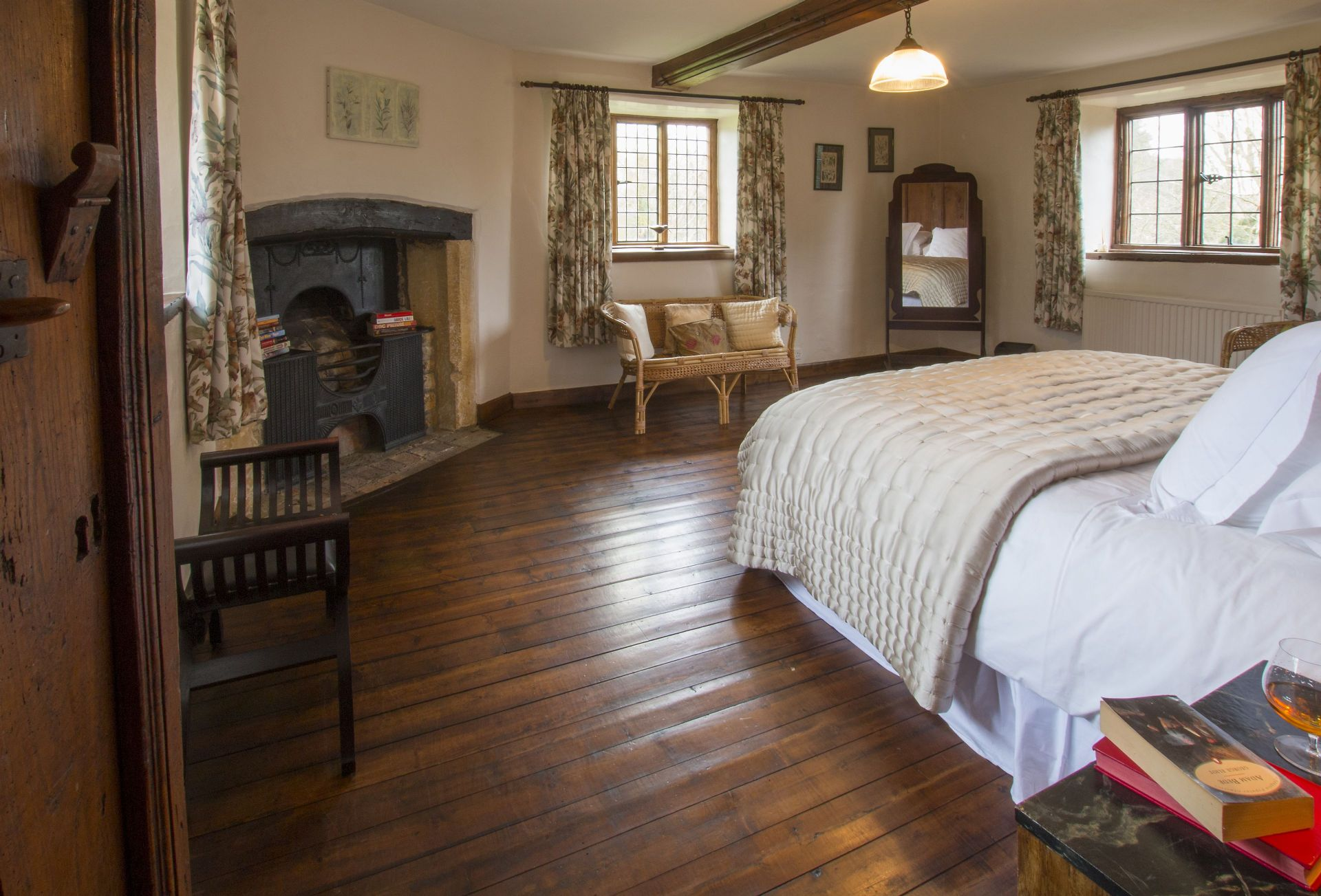 A view of the Master Bedroom with the fireplace