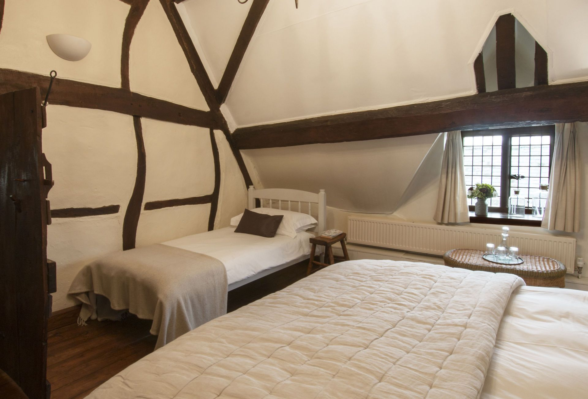 Second floor: Family bedroom with 6' super-king size bed and a single bed