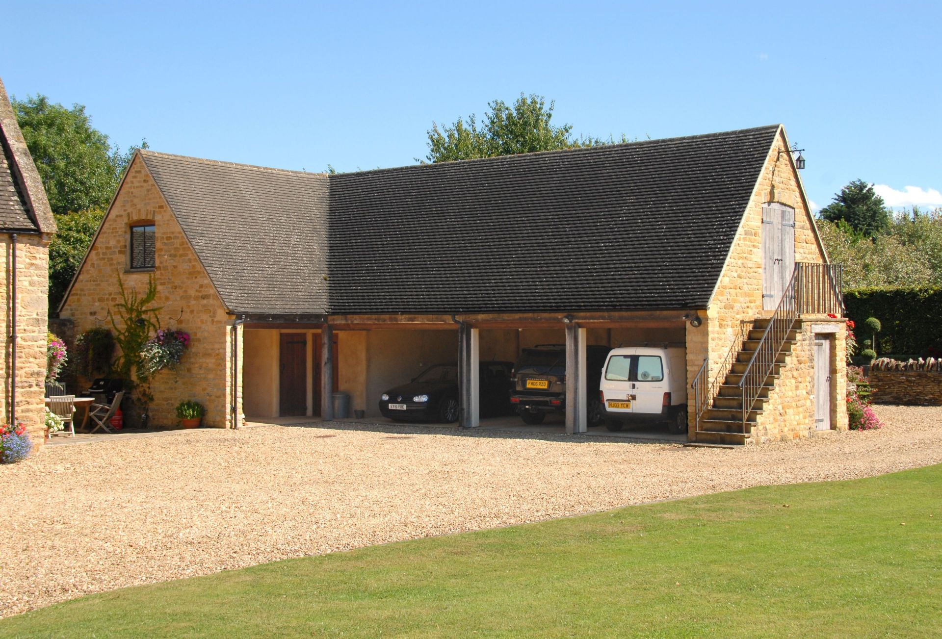 Parking area and barn