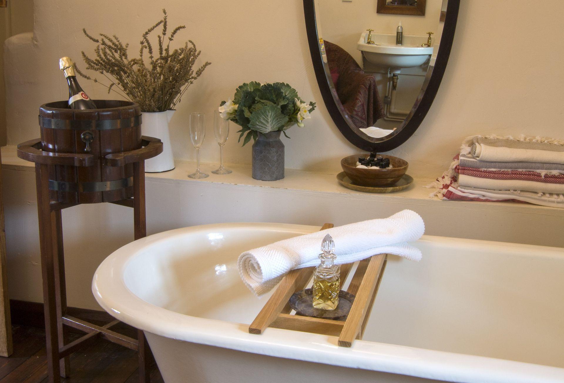 First floor:  Claw foot, cast iron bath