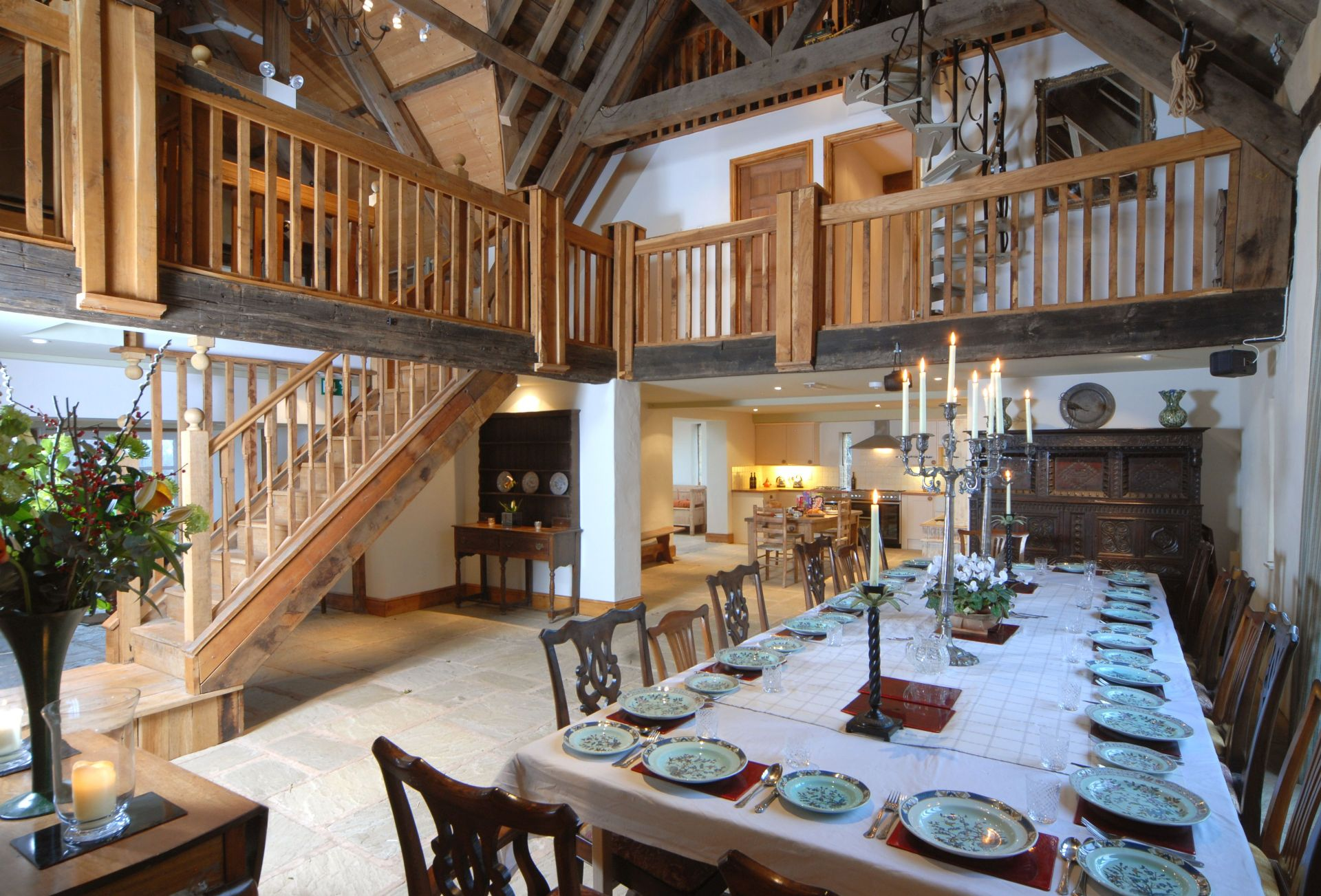 Watery Park Barn Ground floor:  Large, galleried dining area