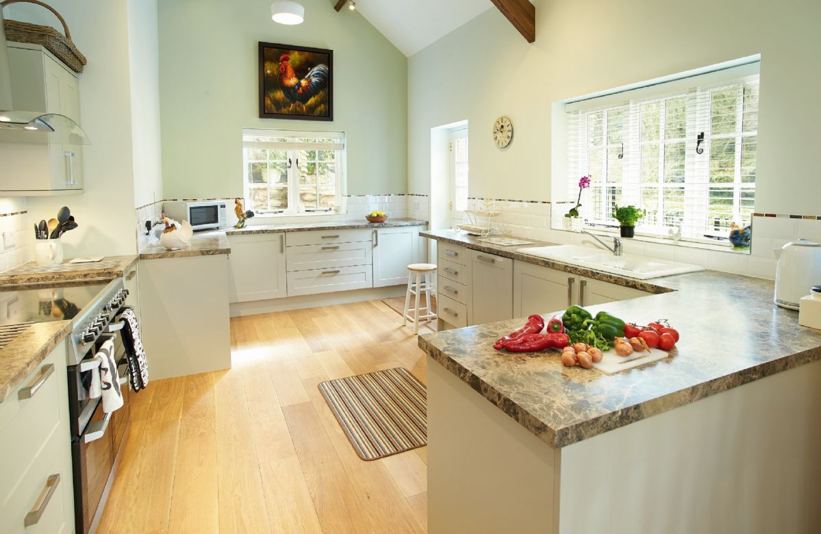 Ground floor: Large family dining kitchen with cathedral ceiling
