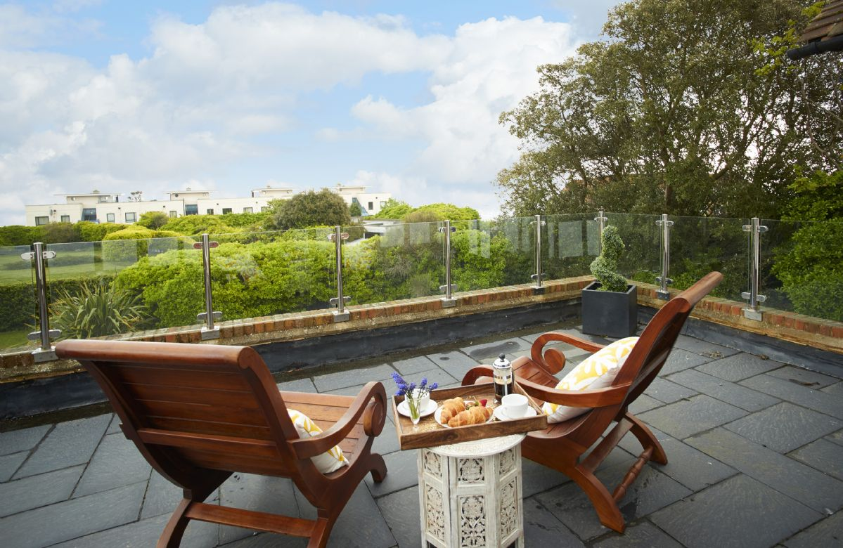 Lauriston has a large sea view terrace accessible from two of the first floor bedrooms