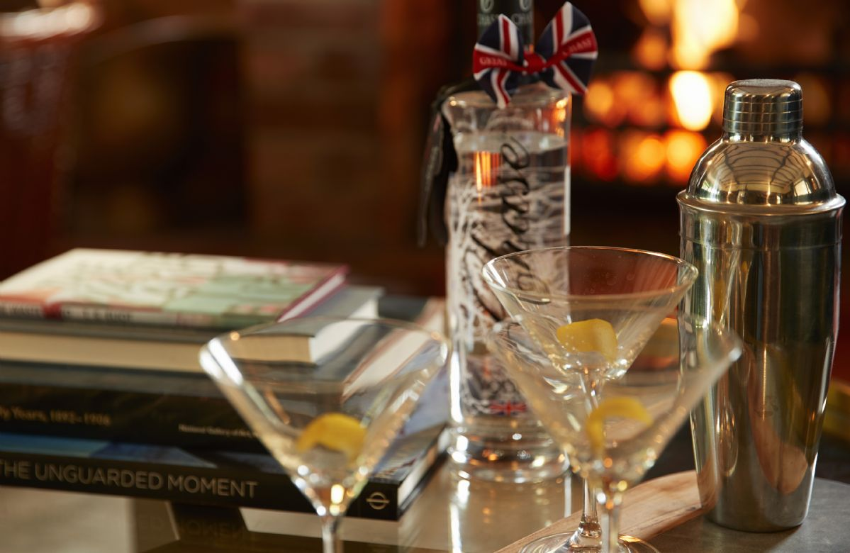 Enjoy a cocktail or two in the drawing room before dinner