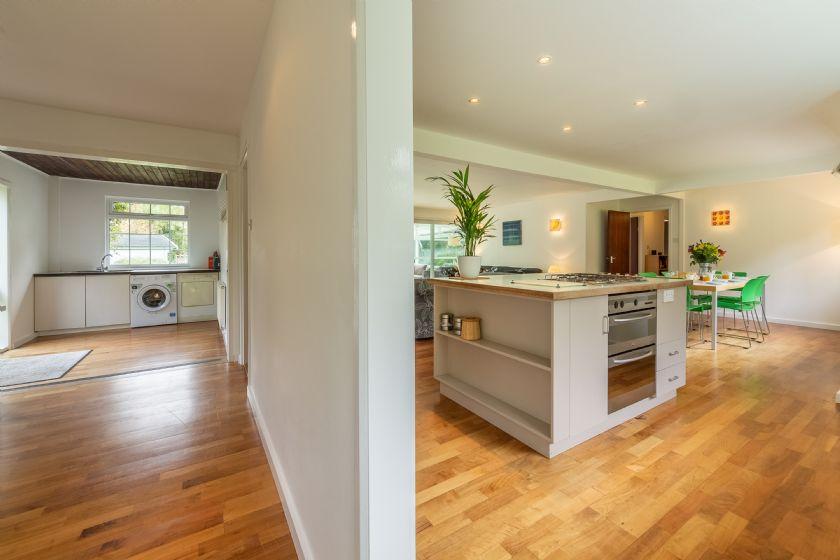 Hallway and Kitchen with island