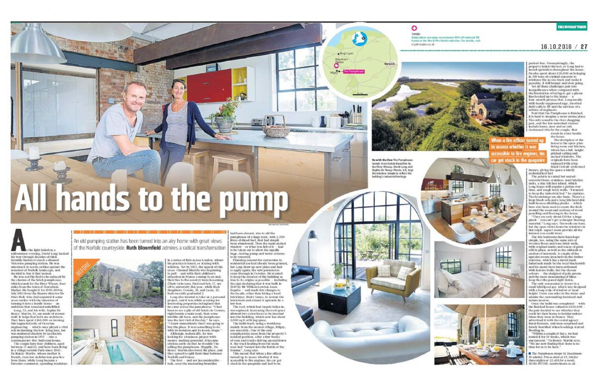 The Pumphouse as featured in the Sunday Times October 2016