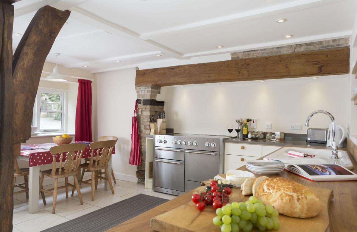Ground floor: Shaker style kitchen with original beams