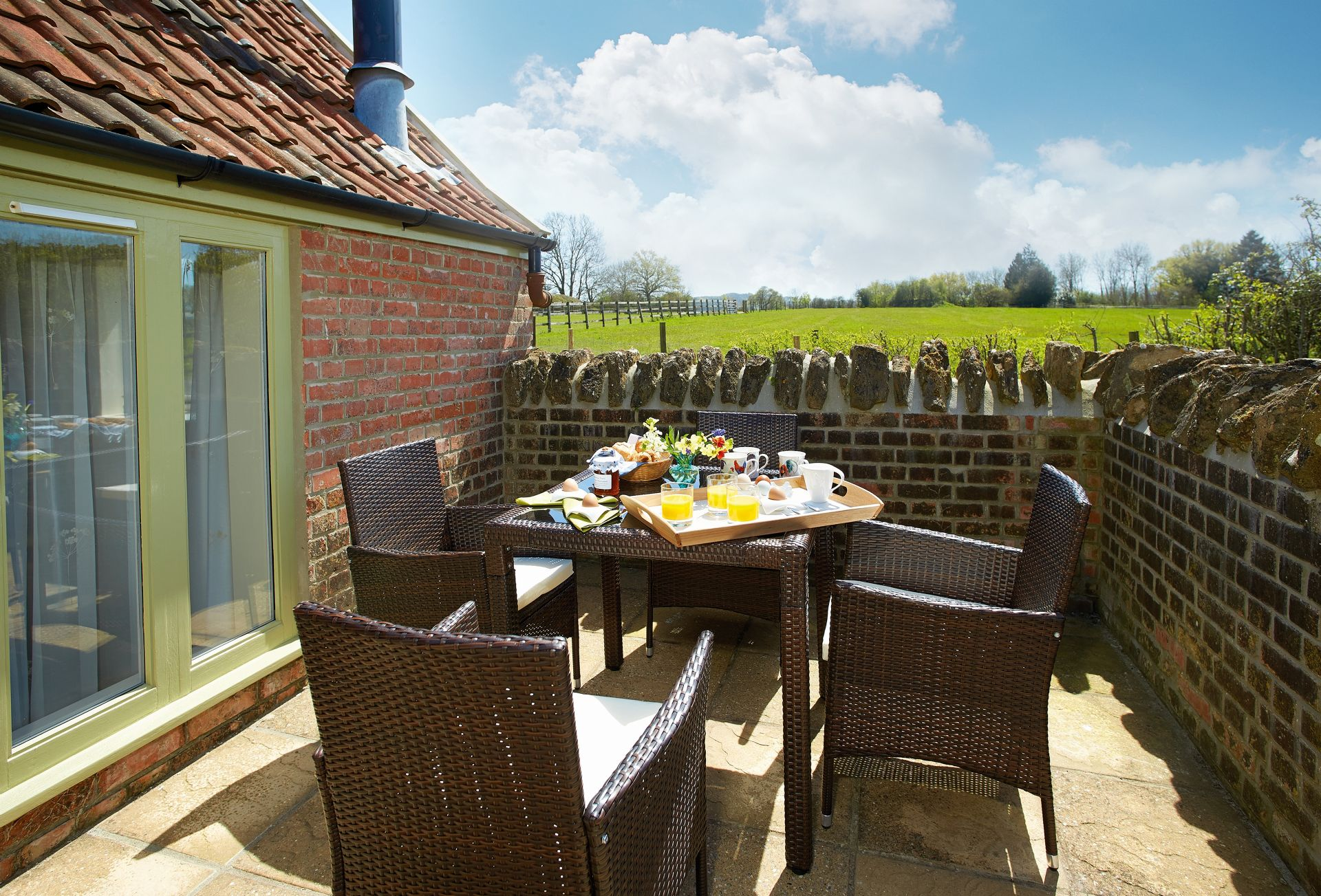 Delightful, walled patio area with lovely countryside views