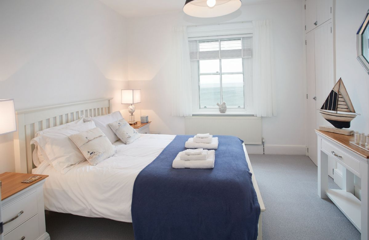 Ground floor: Double bedroom with sea views