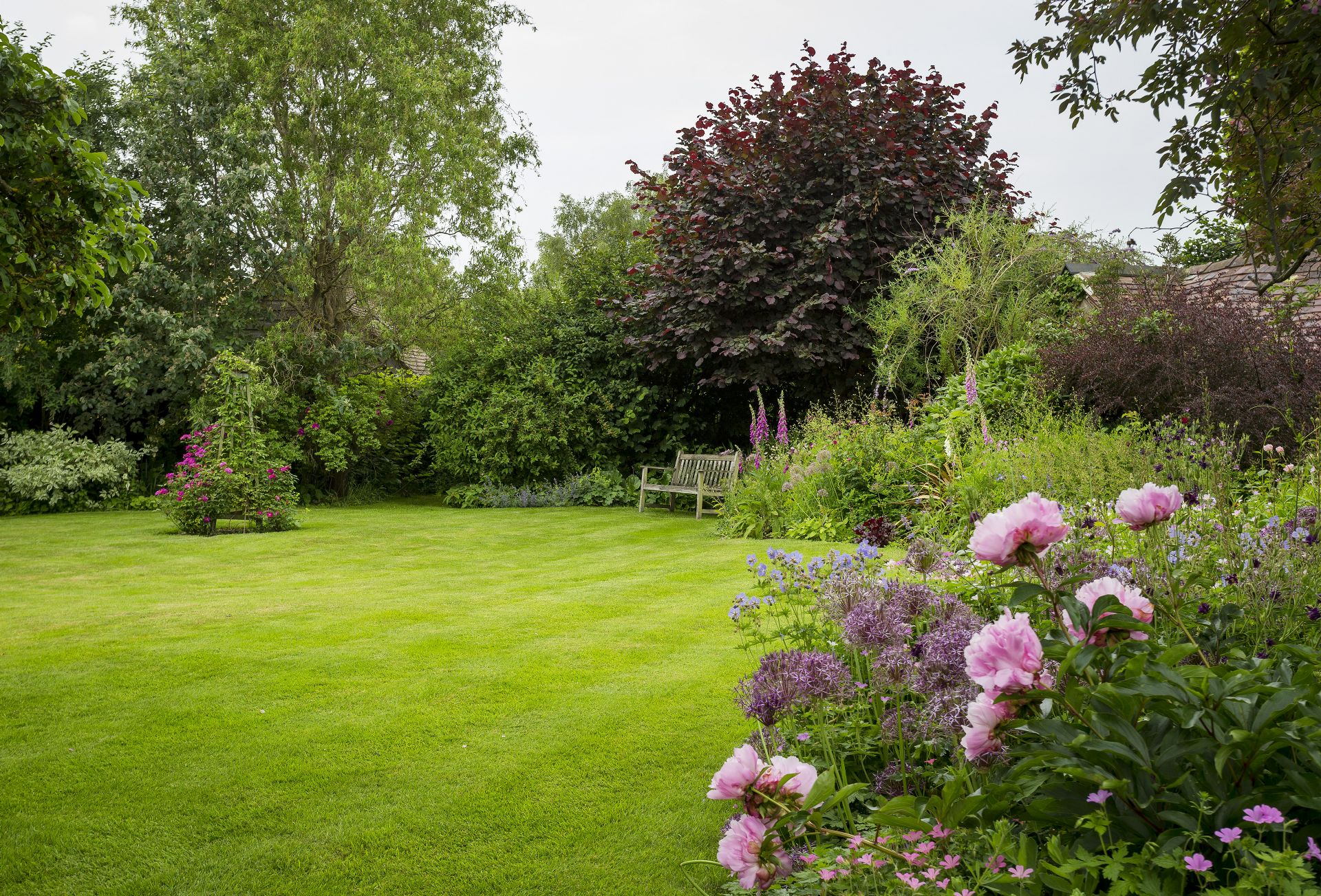 There is a lawned garden to the front of the cottage with well stocked borders featuring many cottage garden favourites