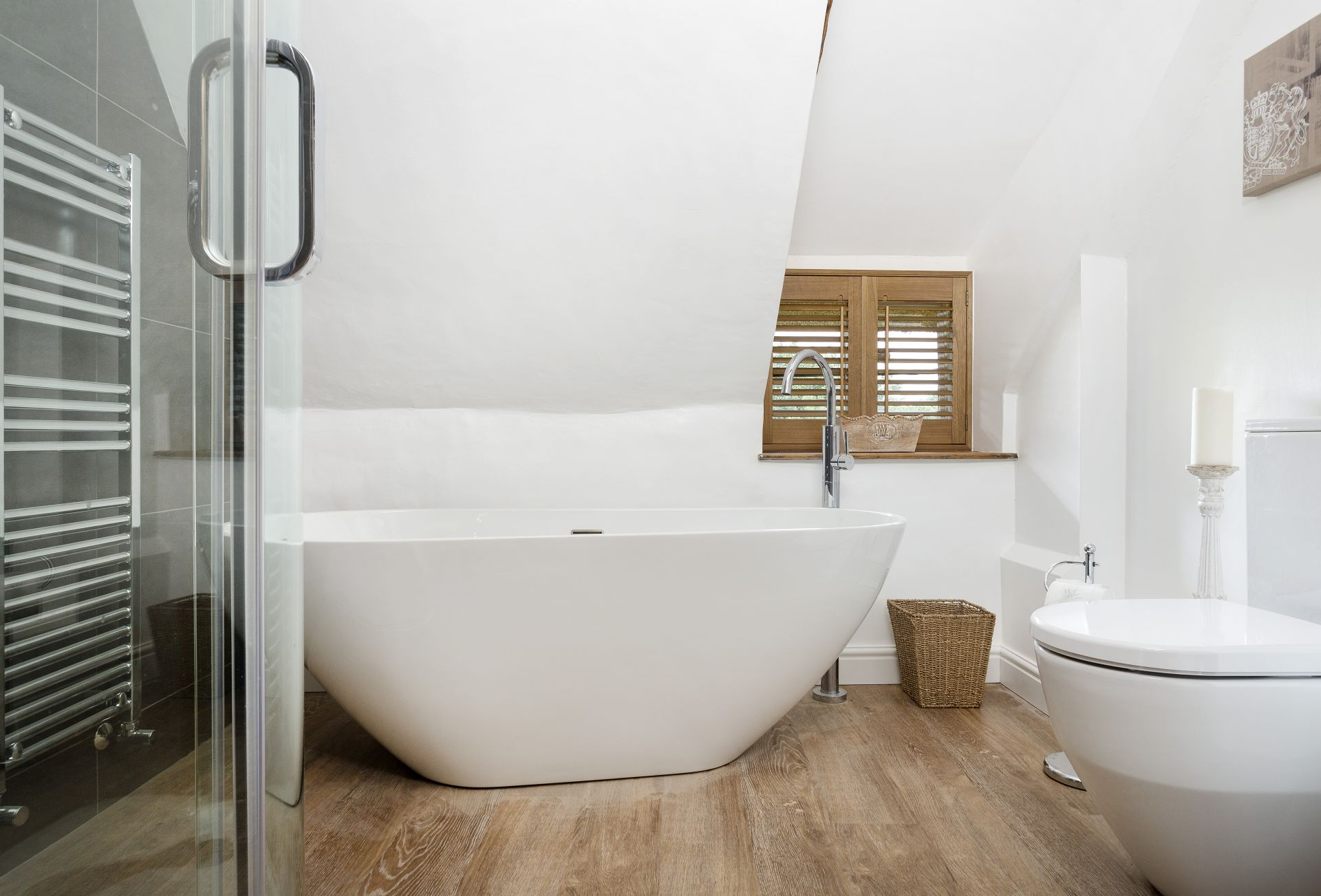 First floor:  Bathroom with a separate walk-in shower and impressively deep bath