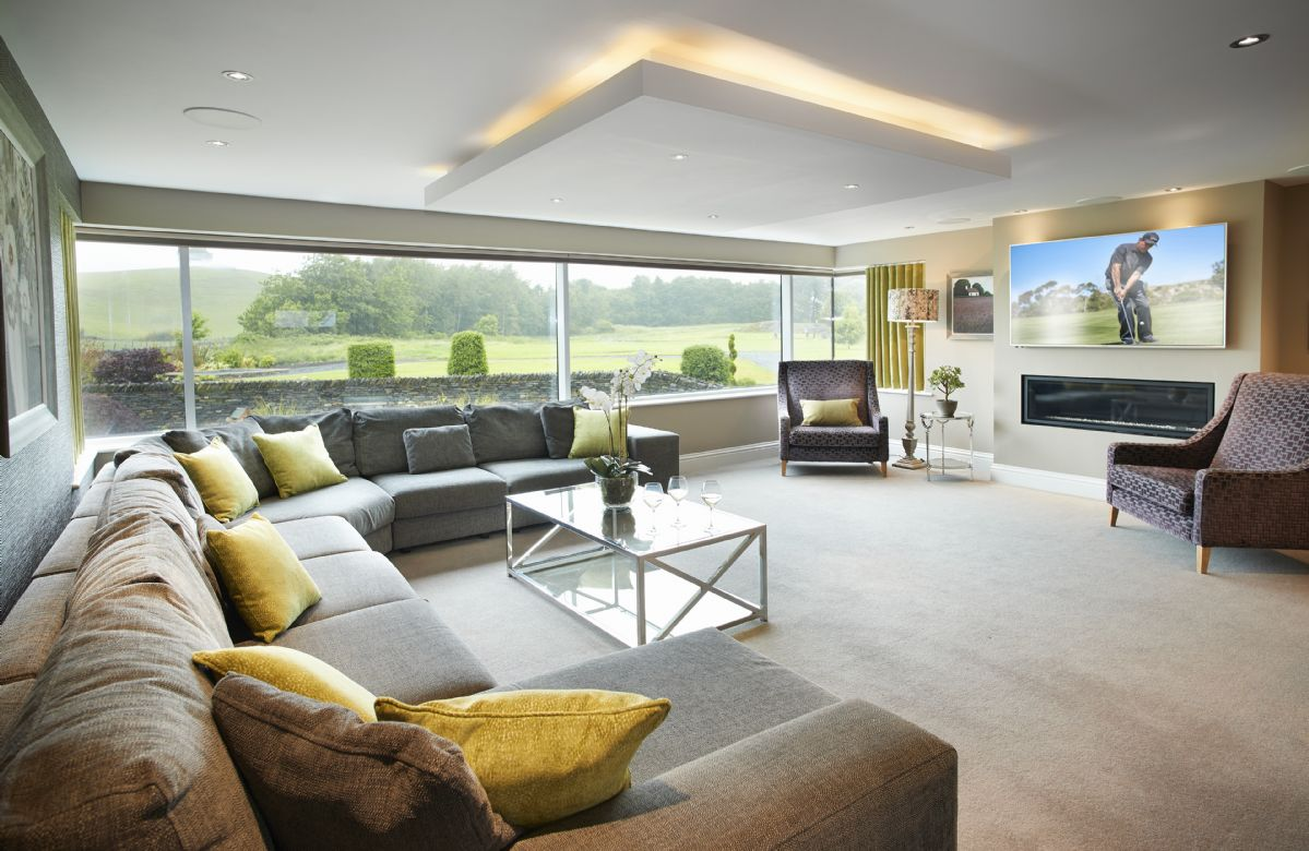First floor: Spacious open plan sitting area with stunning views