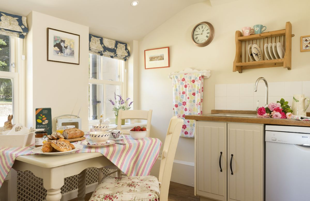 Ground floor: Kitchen with windows facing towards the front of the cottage