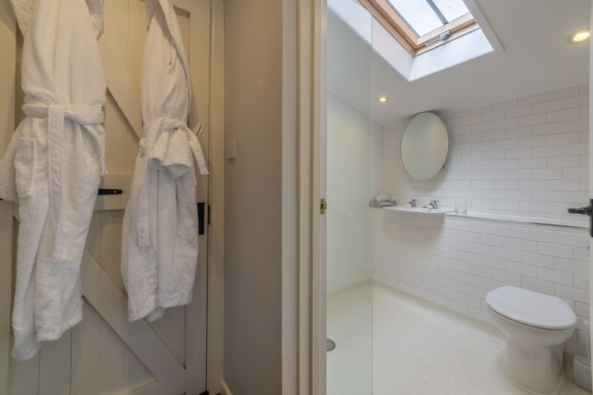 Tiled wet room with shower