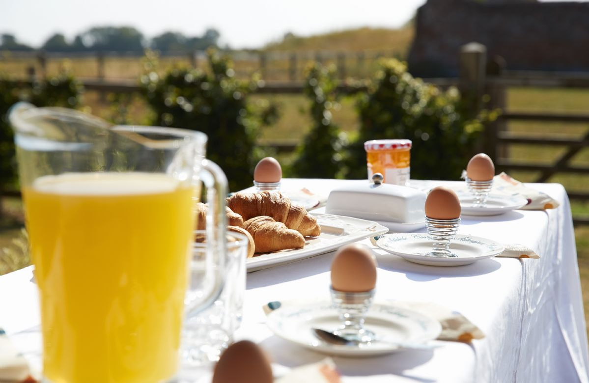 Enjoy breakfast outside and look across the open countryside