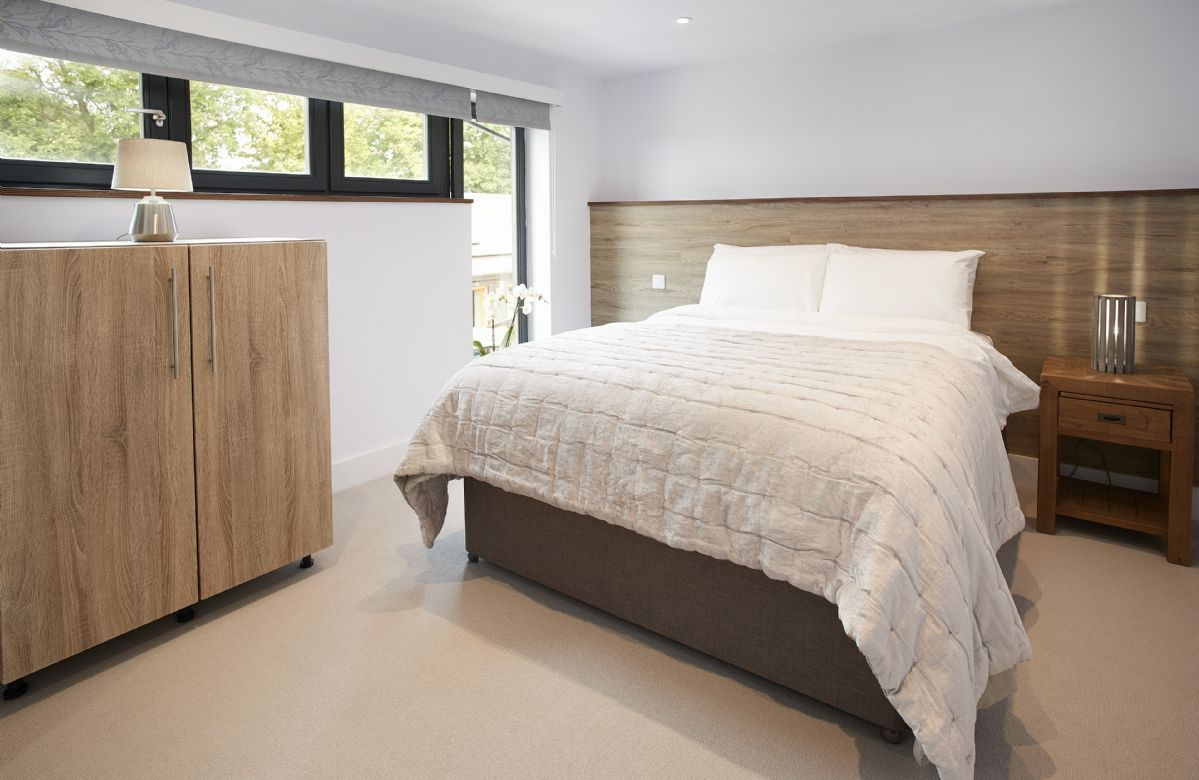 First floor:  Master bedroom with king size bed