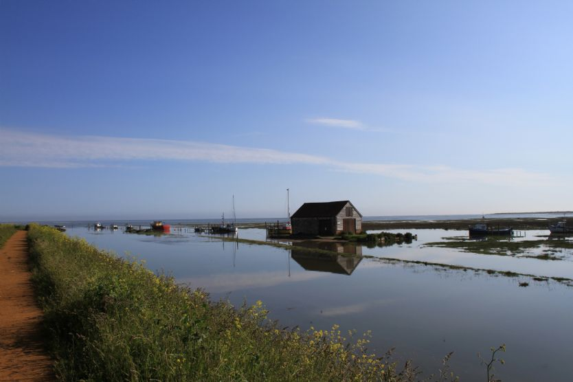 Thornham harbour where you can walk to the beach