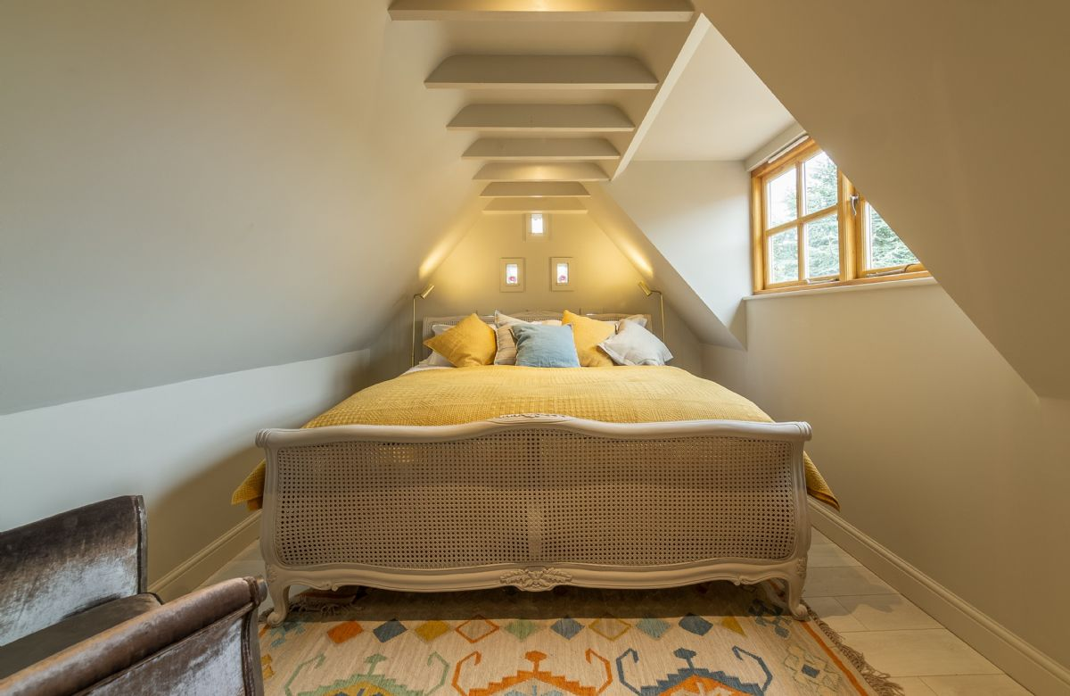 First floor: A perfect character bedroom with exposed beams