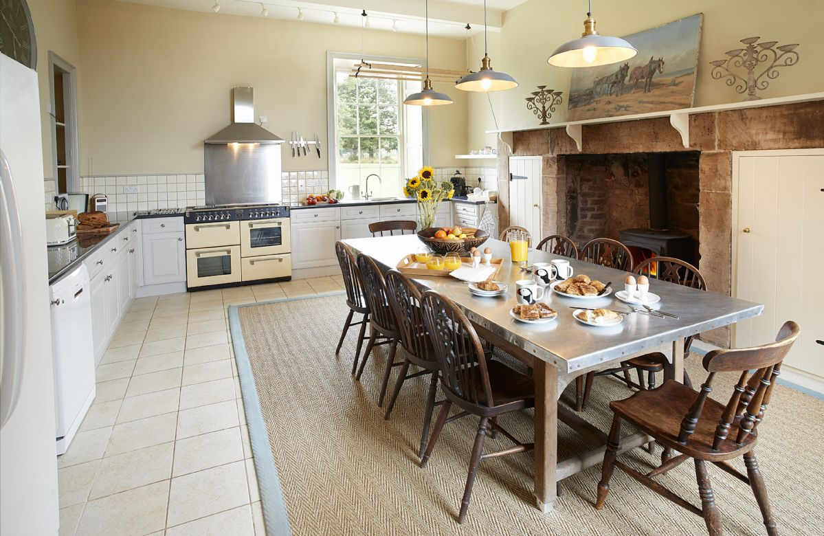 Ground floor: Large country-style kitchen with inglenook fireplace