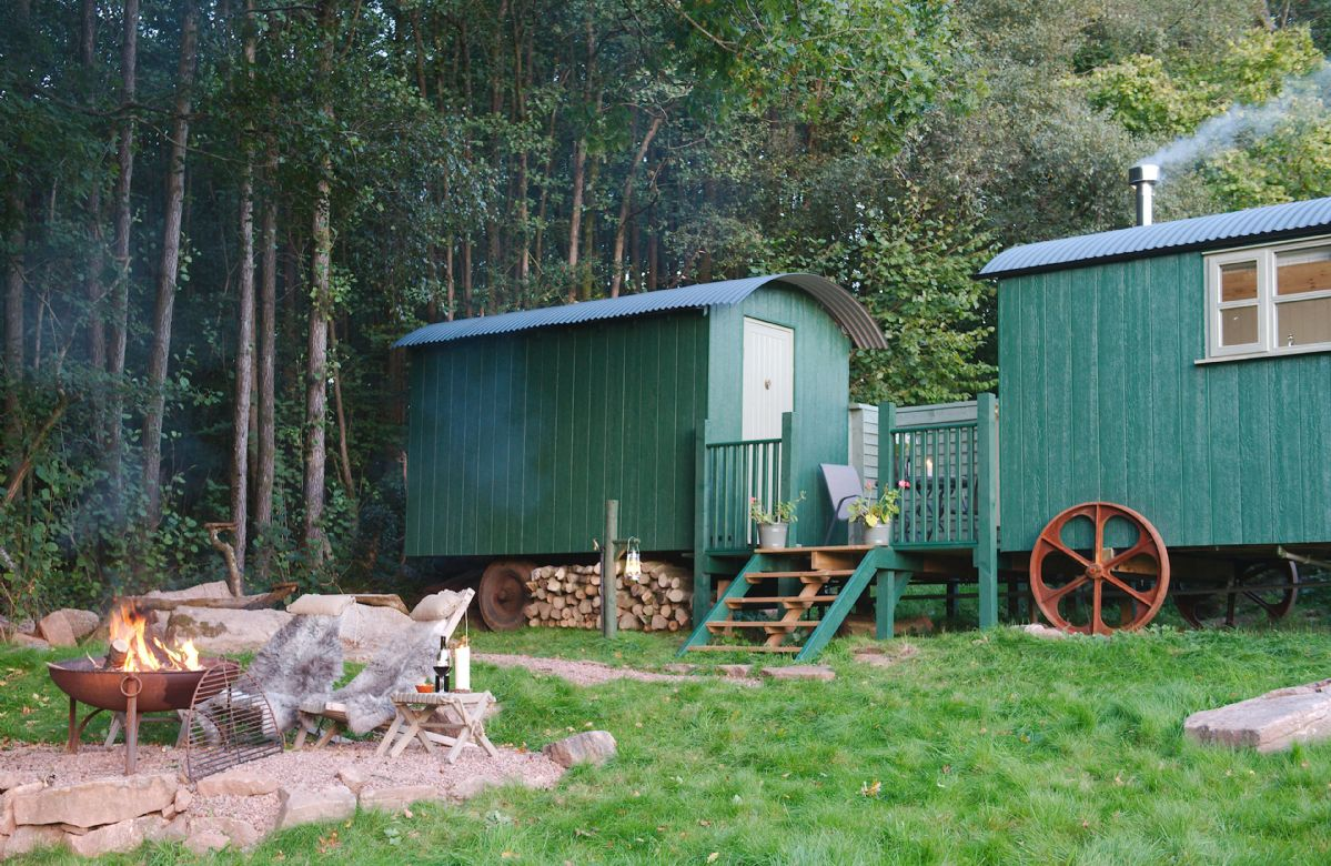 The huts are linked by a decking patio area