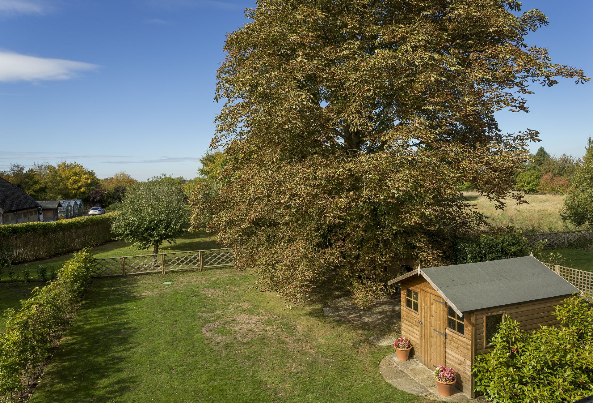 Spacious garden with views to neighbouring orchards