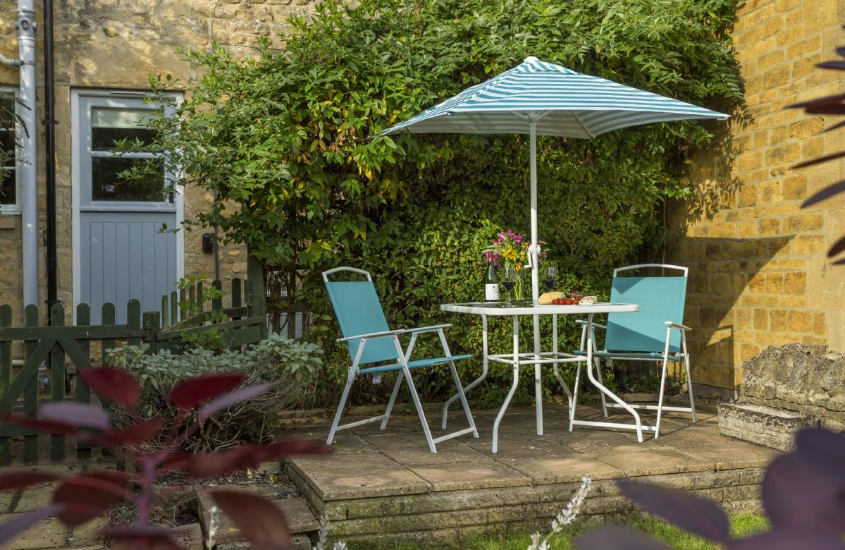 Private outside space with garden furniture to enjoy at the cottage