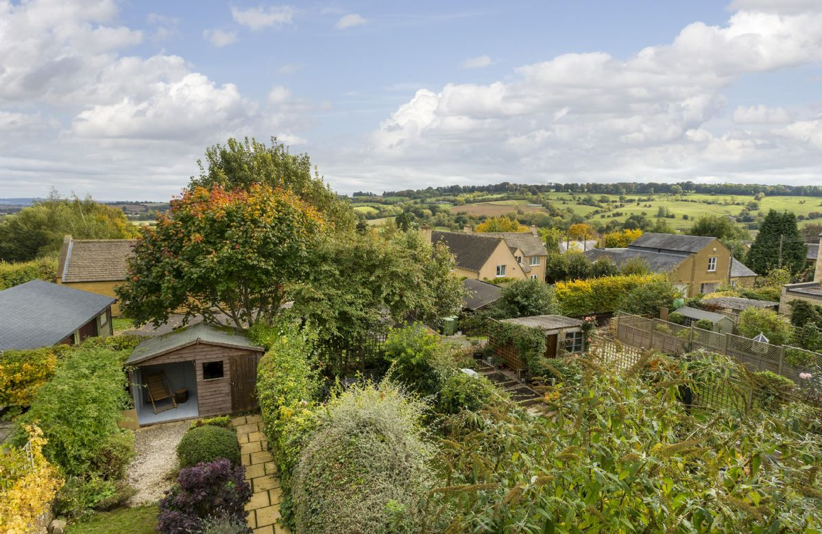 Breathtaking views over the Cotswold countryside from the cottage