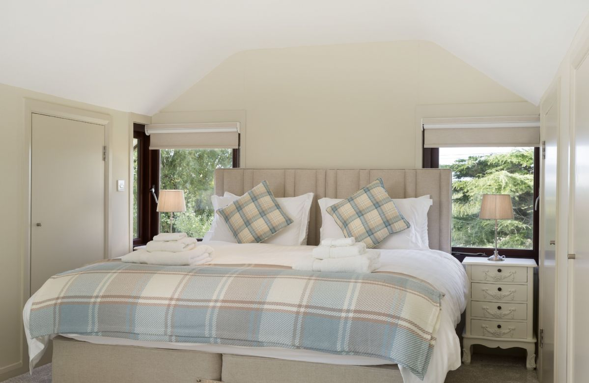 First floor: Super king zip and link beds which can be converted into two full size single beds