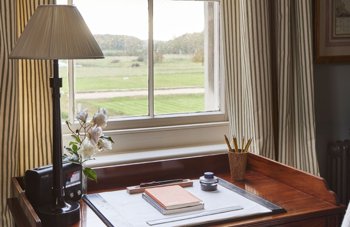 First floor: Elegant desk with views looking out to the parkland