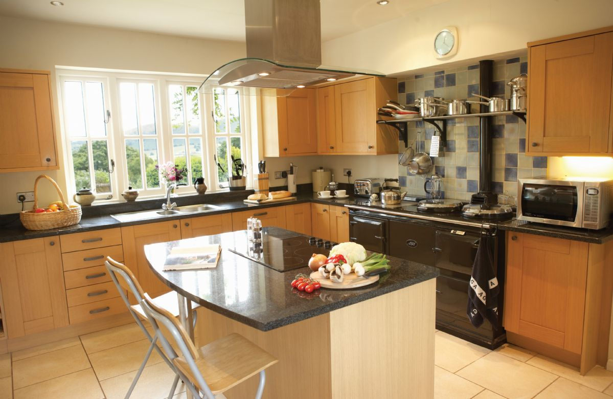 Ground floor:  Large fitted kitchen with Aga