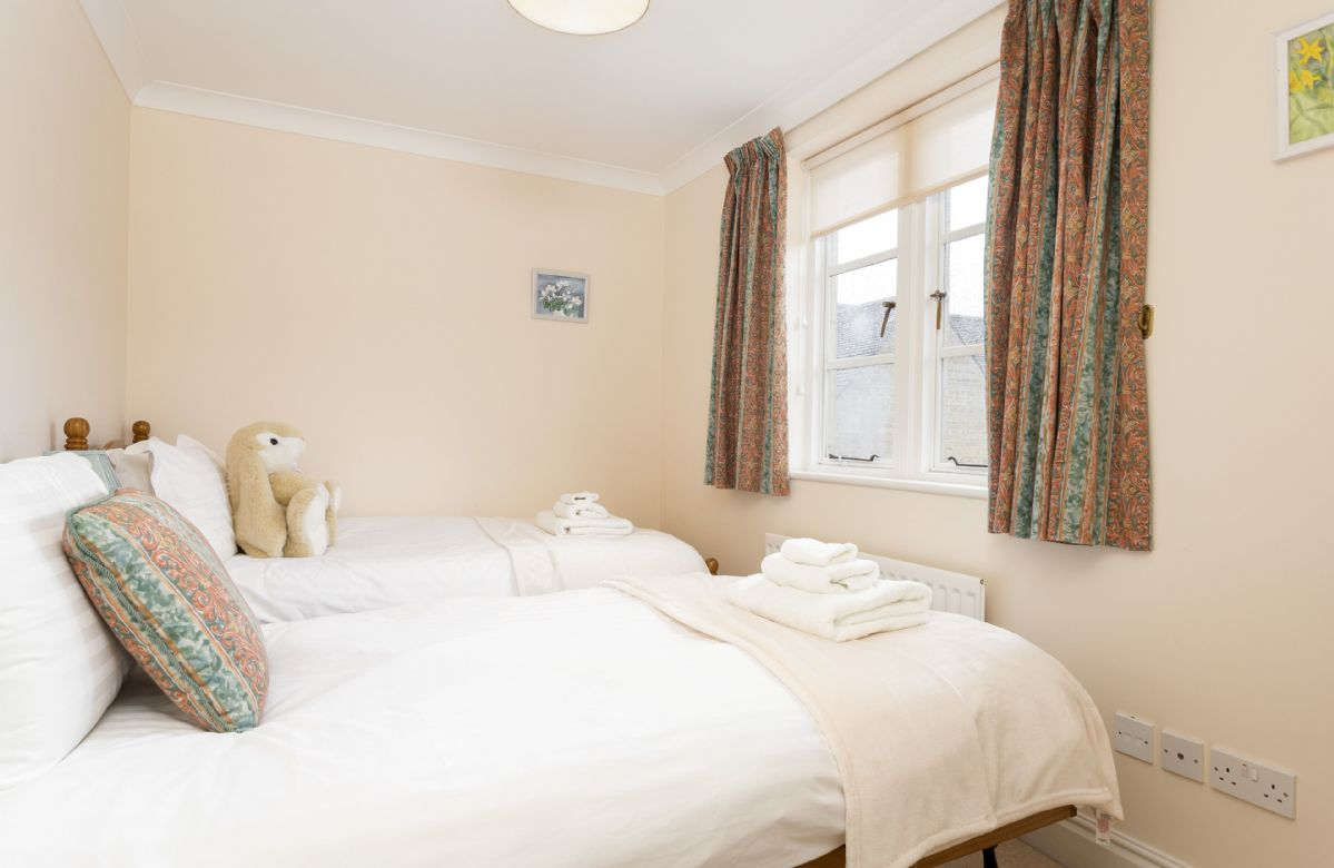 First floor: Bedroom with single bed and trundle shown prepared