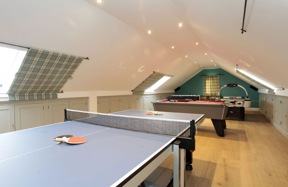 Second floor: Games room with table tennis, pool, table football and air hockey challenges