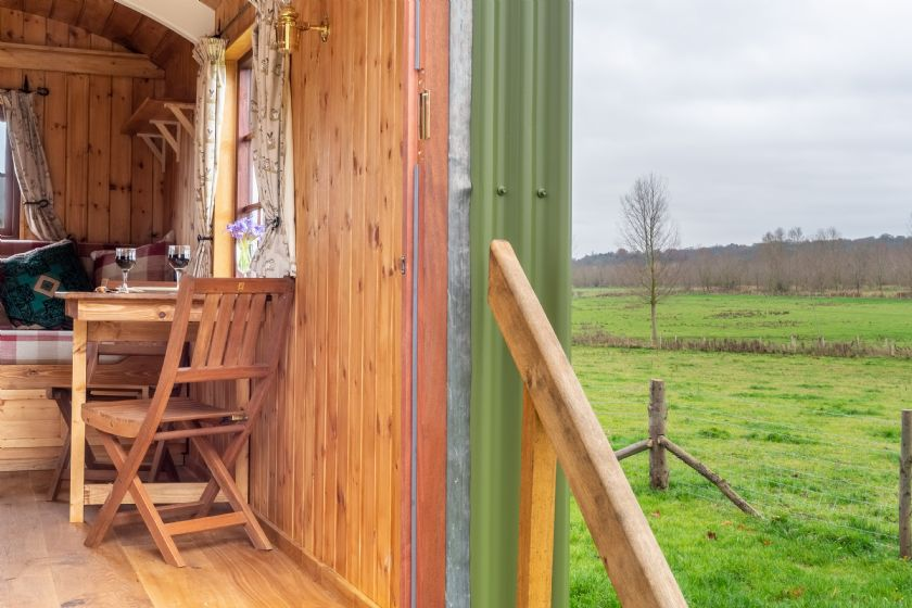 Steps up into the Shepherd's Hut