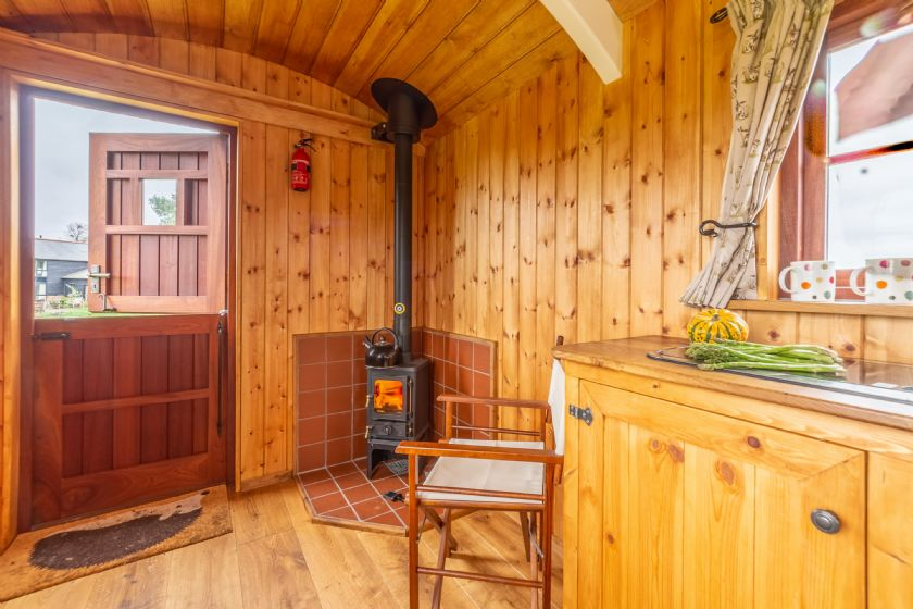 Wood burning stove and stable door to the outside