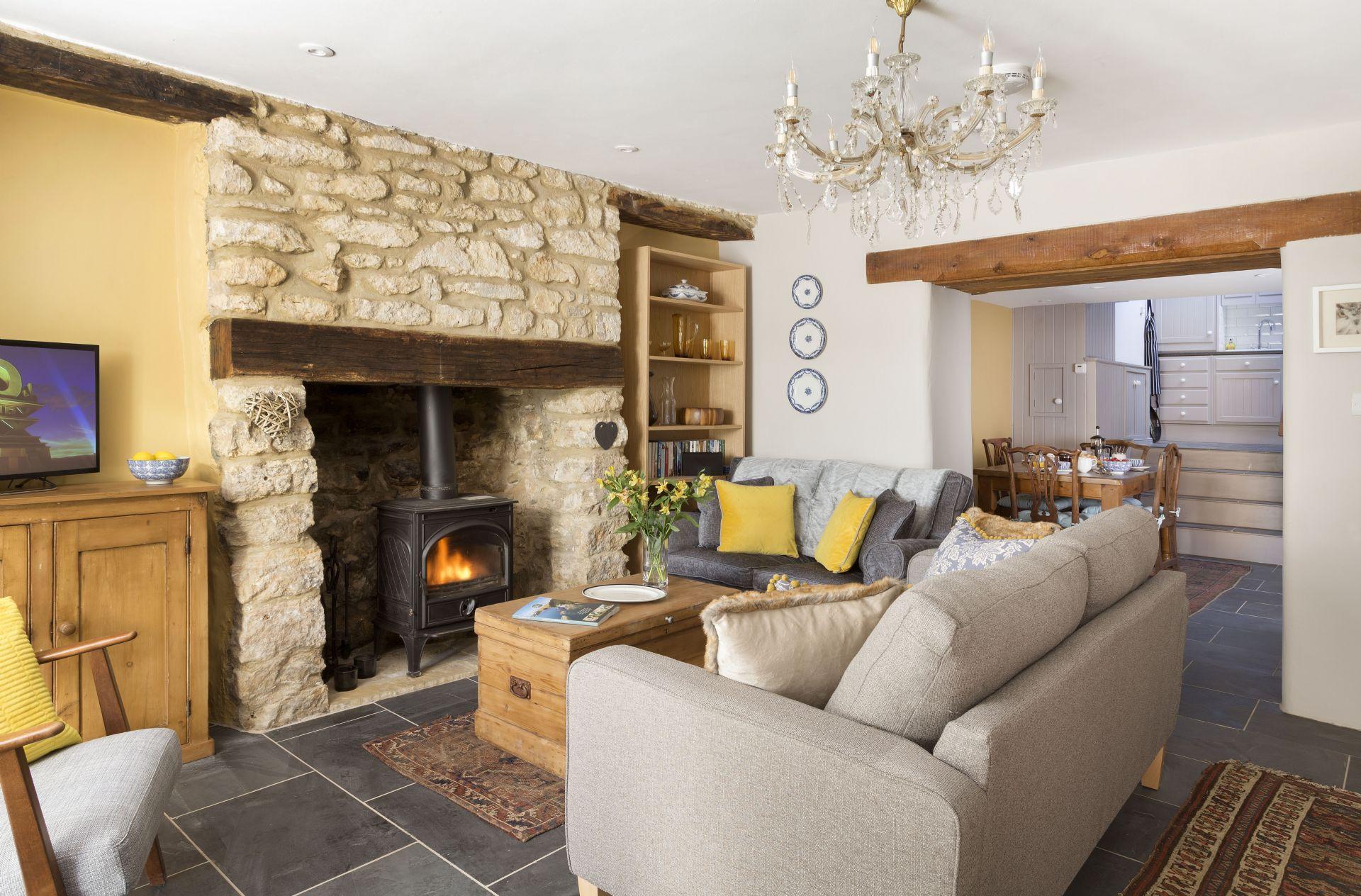 Ground floor: Sitting room with wood burner